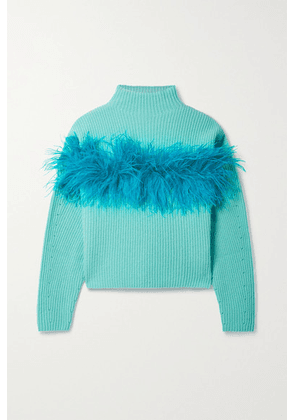 LAPOINTE - Feather-trimmed Silk And Cashmere-blend Sweater - Turquoise