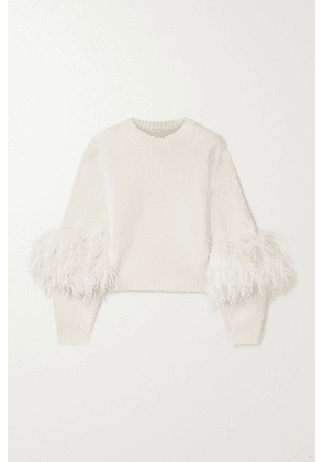 LAPOINTE - Feather-trimmed Wool And Cashmere-blend Sweater - Cream