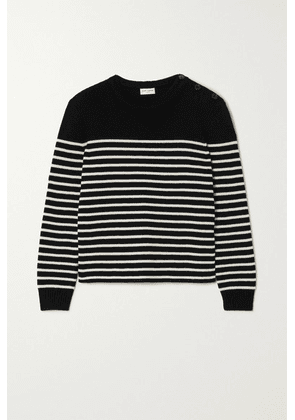 SAINT LAURENT - Button-embellished Striped Cotton And Wool-blend Sweater - Black