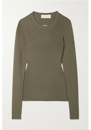 REMAIN Birger Christensen - Basel Open-back Ribbed-knit Sweater - Army green