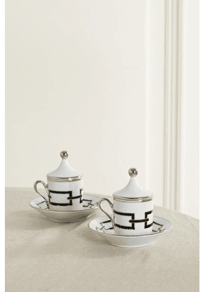 Ginori - Set Of Two Gold-plated Porcelain Espresso Cups And Saucers - White