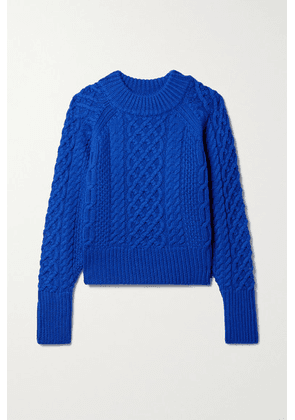 Emilia Wickstead - Emory Cable-knit Wool Sweater - Cobalt blue