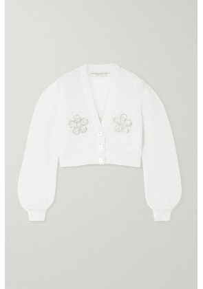 Alessandra Rich - Cropped Embellished Mohair-blend Cardigan - White