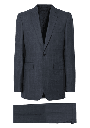 Burberry Classic Fit Windowpane Check Wool Suit - Blue