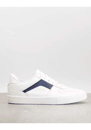 ASOS DESIGN premium leather and suede trainers in white