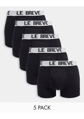 Le Breve 5 pack trunks in black with white band
