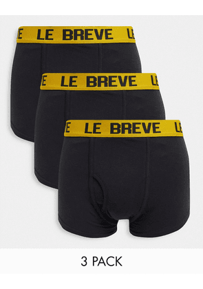 Le Breve 3 pack trunks in black with yellow band