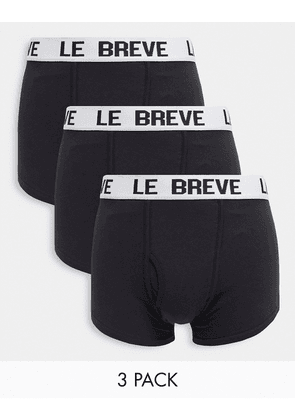 Le Breve 3 pack trunks in black with white band