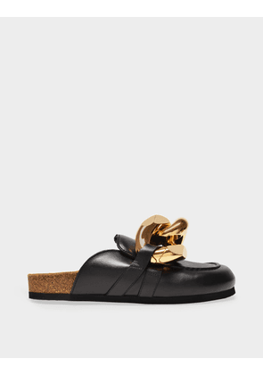 J.W. Anderson Chain Loafer Slides in Black Leather