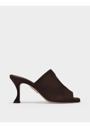 Aquazzura Sexy Thing Mule 75 in Coffee Brown Leather