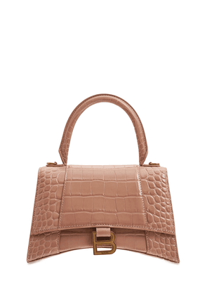 Hourglass Croc Embossed Leather Bag