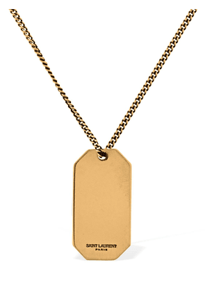 Military Tag Charm Long Chain Necklace