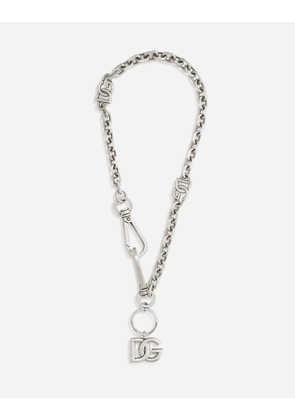 Dolce & Gabbana Bijoux - Key chain/necklace with multiple DG logos Silver male OneSize