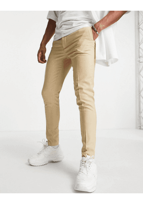 ASOS DESIGN super skinny suit trousers in camel micro texture-Neutral
