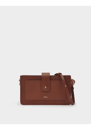 A.P.C. Clutch Albane in Brown Leather
