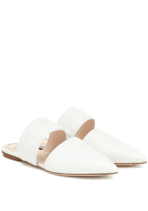 FF embossed leather slippers