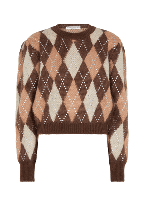 Argyle mohair and wool-blend sweater
