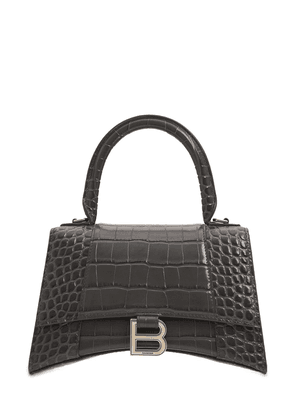 S Hourglass Croc Embossed Leather Bag