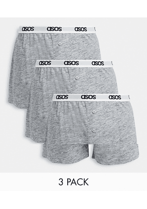 ASOS DESIGN 3 pack jersey boxers in grey space dye with branded waistband saving