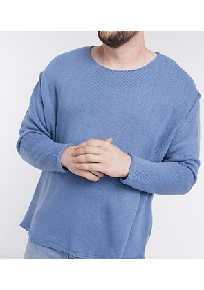 ASOS DESIGN Plus knitted oversized textured jumper in blue