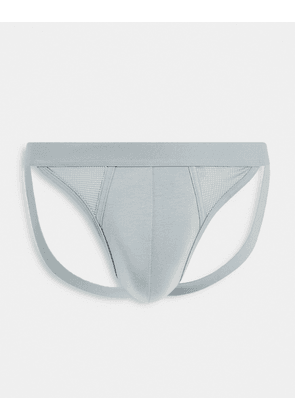 ASOS DESIGN mesh thong with cut outs in grey
