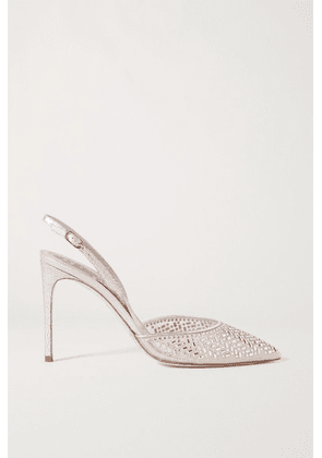 René Caovilla - Crystal-embellished Metallic Leather And Mesh Slingback Pumps - Silver