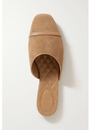 Malone Souliers - Rene Leather-trimmed Suede Flats - Taupe