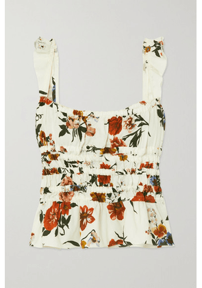Brock Collection - Silvia Shirred Floral-print Cotton Top - White