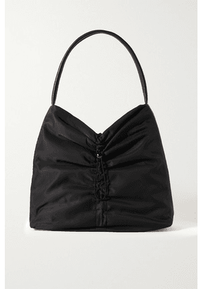 STAUD - Felix Leather-trimmed Ruched Shell Tote - Black
