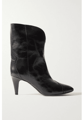 Isabel Marant - Dytho Crinkled Glossed-leather Ankle Boots - Black
