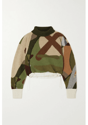 Sacai - + Kaws Cropped Shell-trimmed Jacquard-knit Wool Turtleneck Sweater - Army green