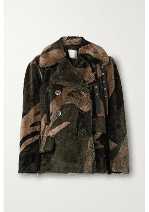 Sacai - +kaws Double-breasted Leather-trimmed Printed Faux Fur Coat - Army green