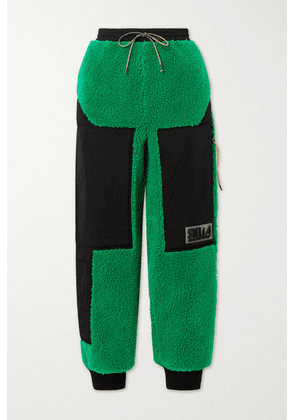 Stella McCartney - + Net Sustain Kara Recycled Faux Shearling And Shell Track Pants - Bright green