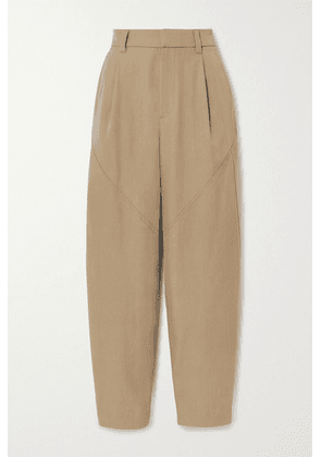 Brunello Cucinelli - Bead-embellished Wool And Cotton-blend Twill Tapered Pants - Camel