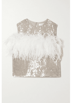 LAPOINTE - Feather-trimmed Sequined Georgette Tank - Light gray