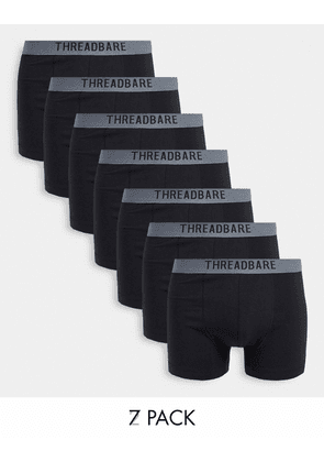 Threadbare warden 7 pack boxers in black with grey waistbands