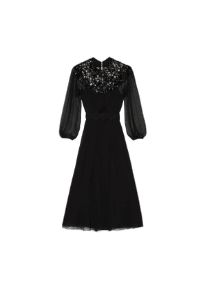 Chiffon crepon dress with sequins