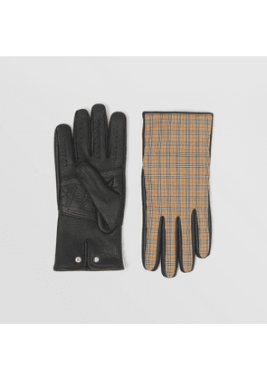 Burberry Cashmere-lined Technical Check and Deerskin Gloves