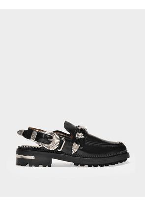 Toga Pulla Flat Shoes in Black Leather