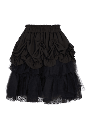 Lace and tulle georgette miniskirt