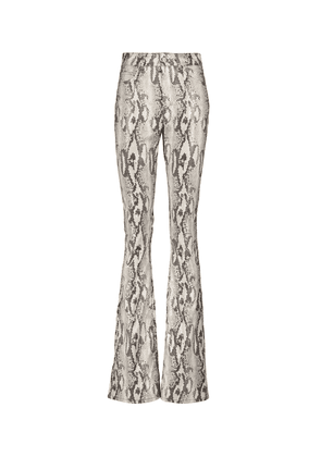 Snake-effect faux leather flared pants