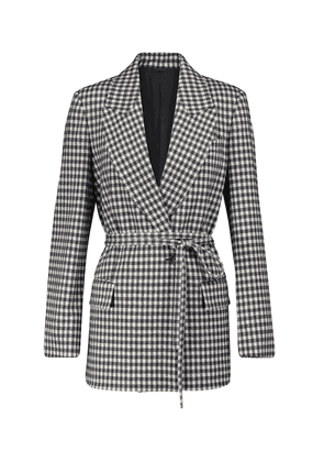 Gingham wool and cotton blazer