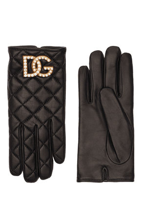 Dg Quilted Leather Gloves
