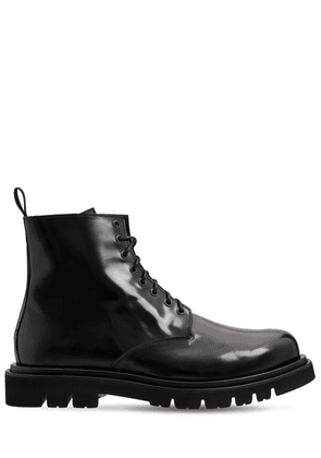 Brushed Leather Lace-up Boots