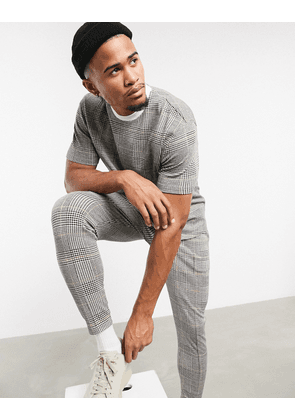 ASOS DESIGN smart co-ord skinny joggers in check textured fabric with fixed hem & pin tucks-Multi