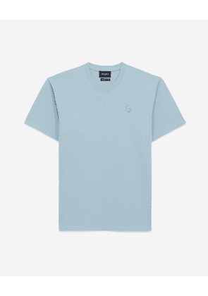 The Kooples - Sky blue T-shirt in cotton with skull - MEN