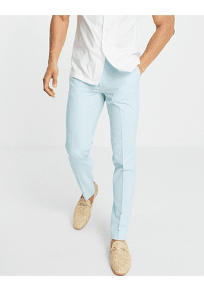 ASOS DESIGN wedding skinny suit trousers in ice blue