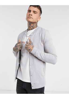ASOS DESIGN organic jersey muscle bomber jacket with poppers in grey marl