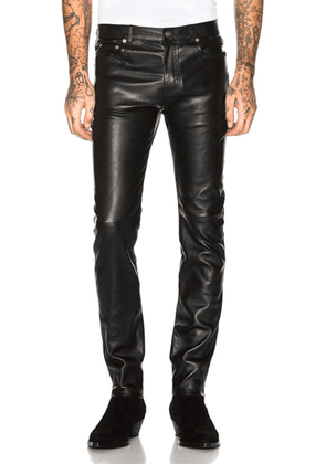 Saint Laurent Leather Skinny Jeans in Black - Black. Size 46 (also in ).