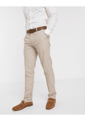 ASOS DESIGN wedding skinny suit trousers in micro texture in camel-Neutral